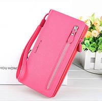 Клатч для женщин Baellerry Italia Classic розовый портмоне Баелери Италия Класик) + серьги в подарок, фото 1