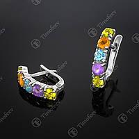 Серебряные серьги с самоцветами. Артикул С-157