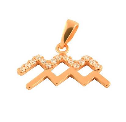 Серебряный знак зодиака Водолей с позолотой