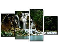 "Модульная картина из 4-х частей ""Водопад у озера"""