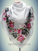 Натуральный платок Вышиванка, белый с розовым