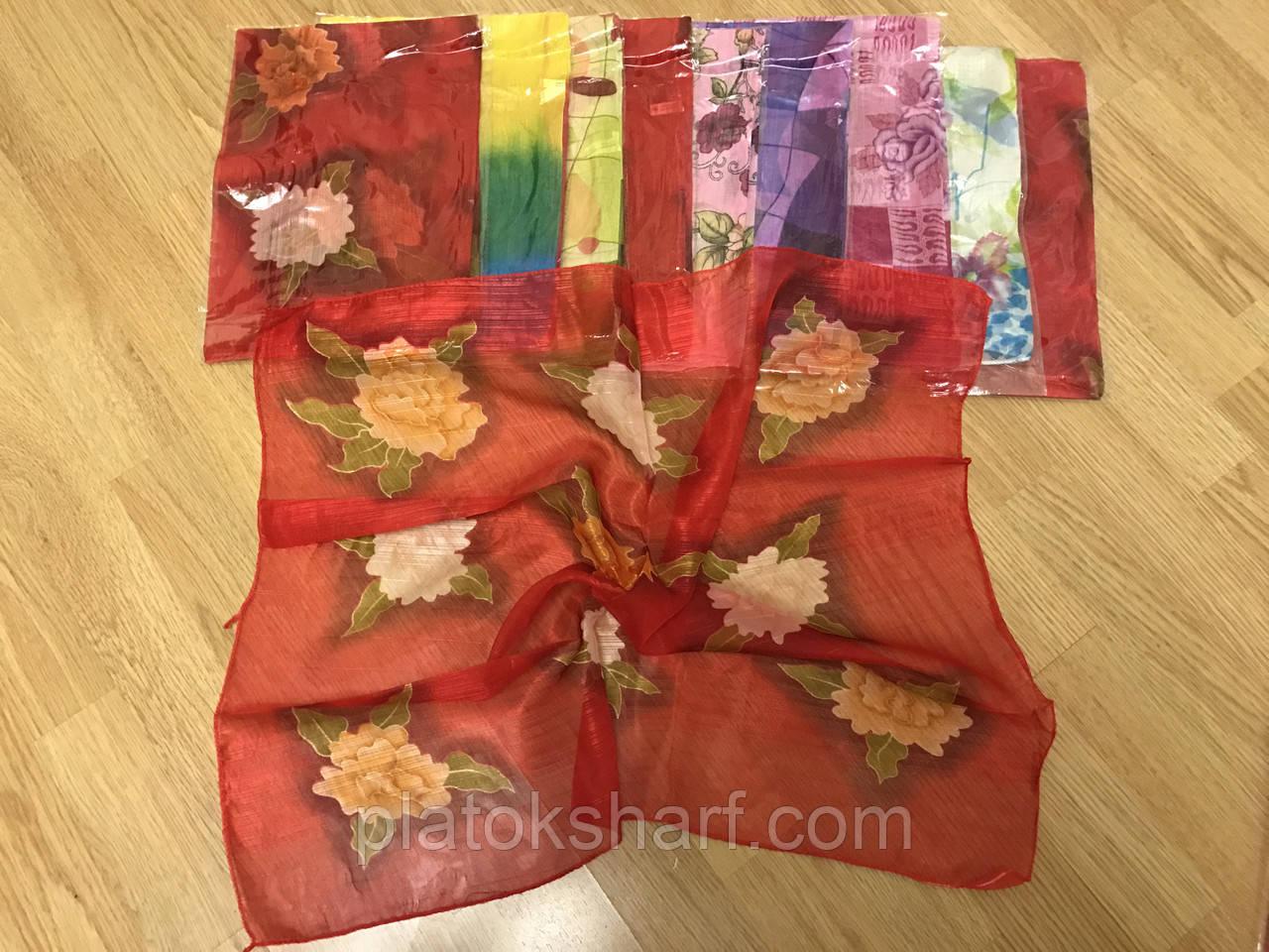 Шифоновые платки головные с рисунками 60*60 см
