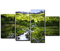 """Модульная картина из 4-х частей """"Горы в Норвегии"""""""