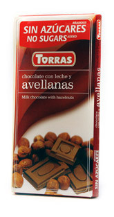 Молочный  шоколад Torras c фундуком  без сахара  , 75 гр