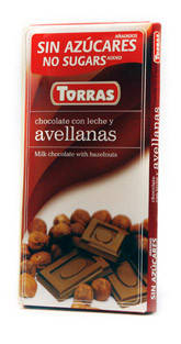 Молочный  шоколад Torras c фундуком  без сахара  , 75 гр, фото 2