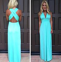 Платье в пол с перекрестом широких лямок на спине и декольте