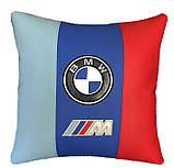 Автомобільна подушка кругла з логотипом bmv бмв 35см, фото 2