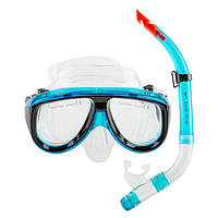 Набор для снорклинга маска и трубка Dolvor, поликарбонат, обтюратор PVC, голубой (М213-1+SN52-(bl))