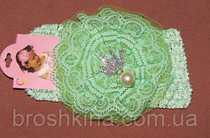 Детская ажурная повязка на голову с кружевом зеленая