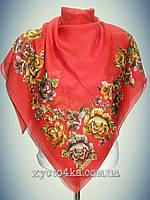 Натуральный платок Вышиванка, красный