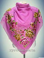 Натуральный платок Вышиванка, розовый