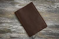 Темно-коричневая кожаная обложка для паспорта с персонализацией