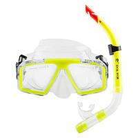 Набор для плавания маска и трубка Dolvor, термостекло, пластик, PVC, желтый (СМИ М4204Р+SN52P)