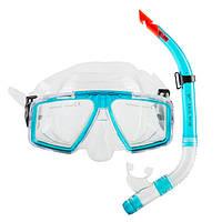 Набор для плавания маска и трубка Dolvor, термостекло, пластик, PVC, голубой (СМИ М4204Р+SN52P)