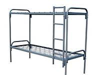 Кровать 2-хъярусная металлическая с лестницей