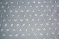 Фланель зірочки білі на сірому