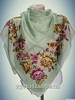 Натуральный платок Вышиванка, зелёный
