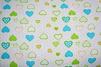 Фланель сердечка блакитно-зелені на білому