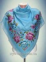 Натуральный платок Вышиванка, бирюза