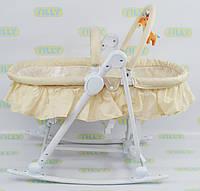Шезлонг люлька 3 в 1 Baby Tilly дуга с игрушками до 12 кг бежевый