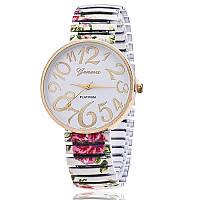 Модные оригинальные женские часы Geneva Platinum Stretchy, белые