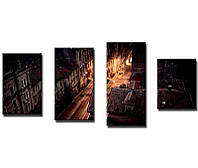 """Модульная картина из 4-х частей """"Ночной город"""""""