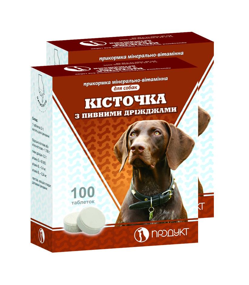 Косточка пивные дрожжи 100 таб. витаминно-минеральная добавка для щенков и взрослых собак