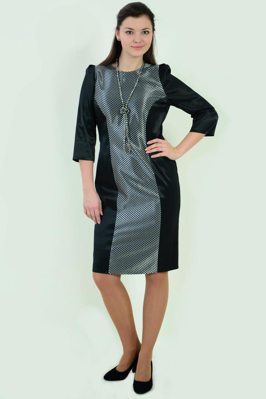 Платье нарядное черное приталенное стрейч ботал пл 137-2