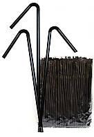 Трубочка для коктейлей черная с гофрой, 24 см (200 шт/уп.)