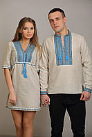 Вышиванки для пары, голубой цвет, ромбовидный принт. цена за пару
