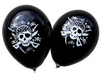 """Воздушные шарики пират пастель черная шелкография 12"""" (30 см) ТМ Gemar"""