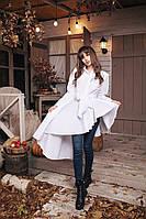 Женская асимметричная рубашка с поясом