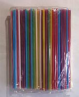 Трубочка для коктейлей цветная без гофры, 20,5 см (200 шт/уп.)