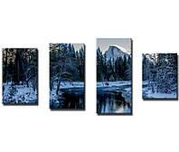 "Модульная картина из 4-х частей ""Река зимой"""