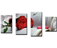 "Модульная картина из 4-х частей ""Роза на книге"""