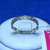 Серебряное кольцо с сердечками 1094