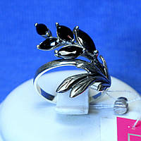 Серебряное кольцо с черным цирконом 1960ч