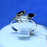 Срібне кільце з чорним каменем Гілочка 1966чб