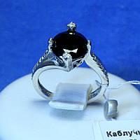 Серебряное кольцо с черным камнем Торонто 4014ч