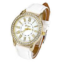 Cтильные женские часы Geneva Cristal White белые со стразами