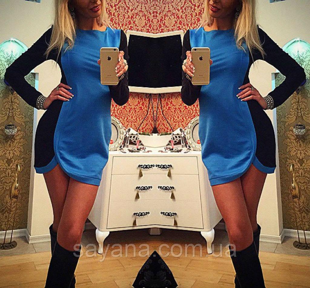Женское модное двухцветное платье (3 цвета)