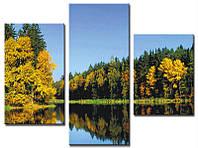 """Модульная картина из 3-х частей """"Озеро в осеннем лесу"""""""