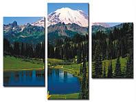 """Модульная картина из 3-х частей """"Озеро у горы"""""""