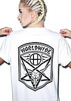 Футболка женская скейтерская с принтом Thrasher Huf WorldWide