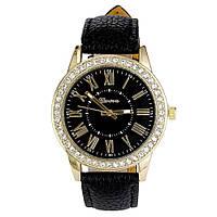 Cтильные женские часы Geneva Cristal Black черные со стразами