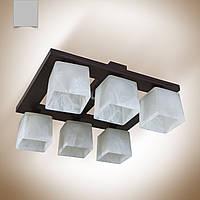 Люстра 6 ламповая, деревянная для зала, спальни, кухни, прихожей