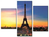 "Модульная картина из 3-х частей ""Париж. Вечер"""