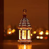 Марокканский фонарик белый со стеклом