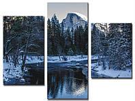 "Модульная картина из 3-х частей ""Река зимой"""
