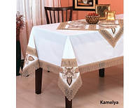 Скатерть с салфетками и кольцами Kayaoglu Kamelya кремовая 160*240см